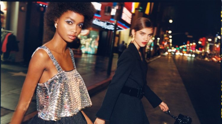 Blesnya Minher and Meghan Roche pose for Zara TRF Sunset Party 2019 editorial