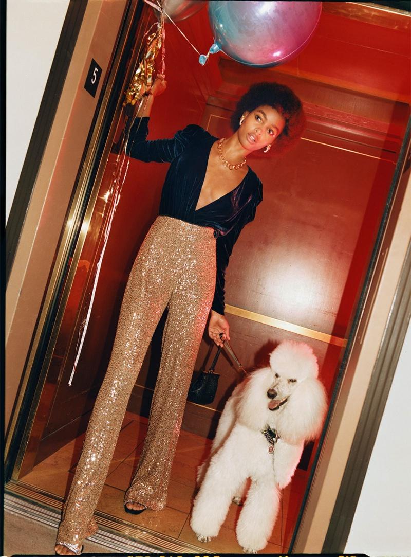 Zara Velvet Bodysuit, Flared Sequin Pants and Beaded Heeled Sandals