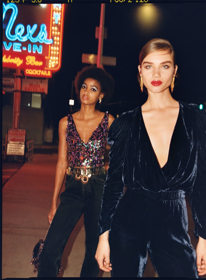 Blesnya Minher and Meghan Roche front Zara TRF Sunset Party 2019 editorial