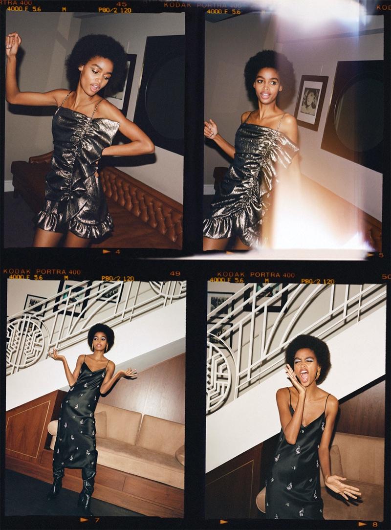 Blesnya Minher models Zara metallic ruffled dress and embroidered satin effect dress