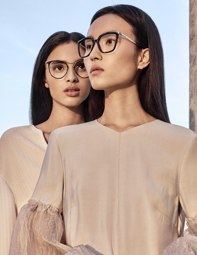 Aira Ferreira and Luping Wang model eyewear in Aigner spring-summer 2020 campaign