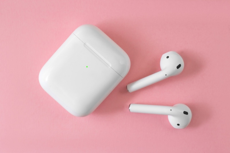 Airpods Charging Case Lifestyle Pink Backdrop