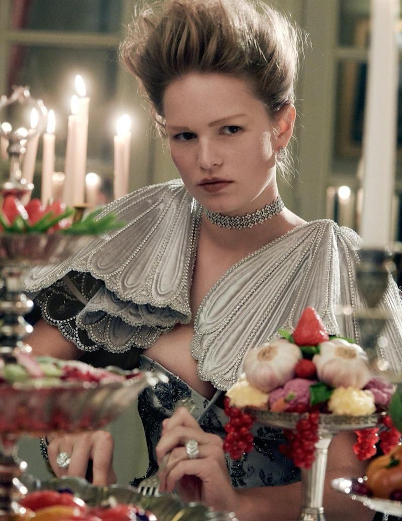Anna Ewers Dazzles in Regal Fashion for Vogue Paris