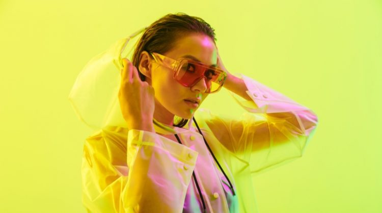 Asian Model Transparent Coat Sunglasses Sleek Hair Fashion