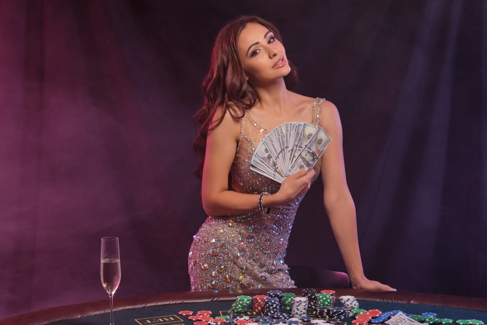 Attractive Woman Casino Money Chips Champagne Sequin Dress