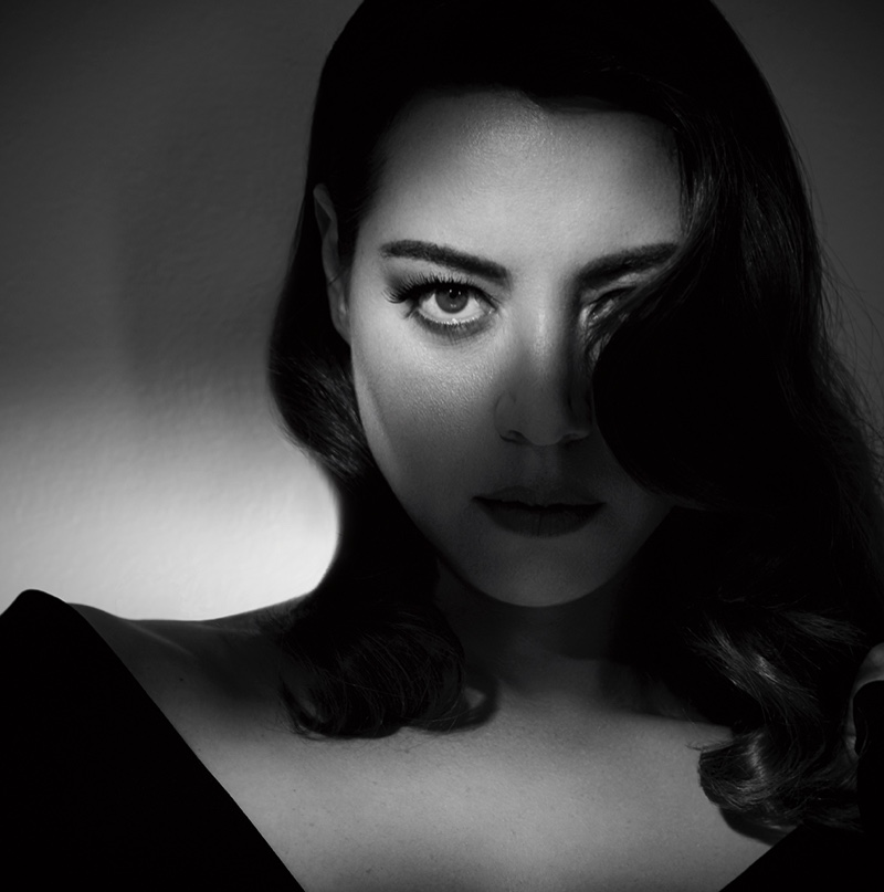 Actress Aubrey Plaza gets her closeup in black and white shot