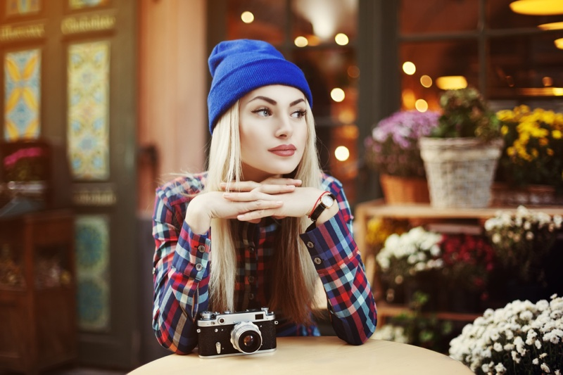 Beanie Plaid Shirt Camera Attractive Blonde Woman
