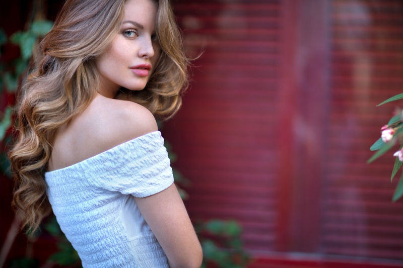 Beautiful Woman Light Brown Hair Skin Ruched Top