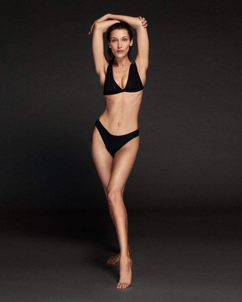 Flaunting her figure, Bella Hadid poses for Calvin Klein Swimwear campaign
