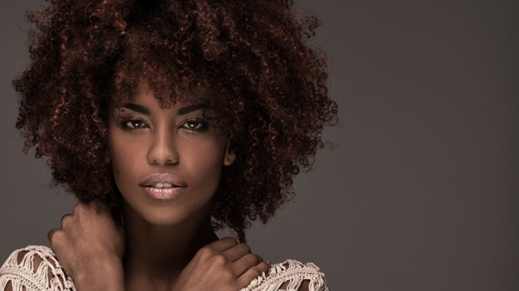 Black Model Red Curly Afro Hair Beauty