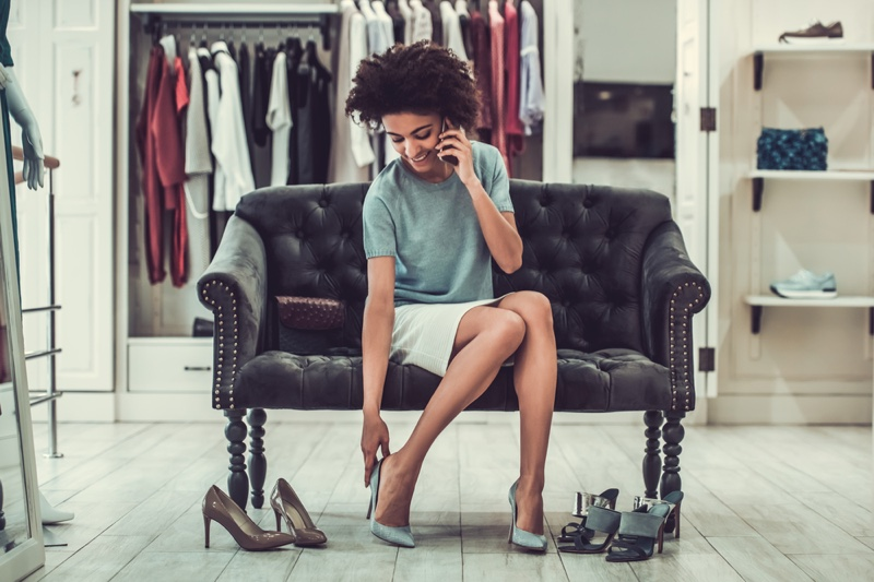 Black Woman Trying On Heels Afro Hairstyle