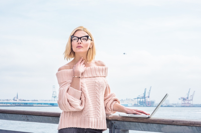 Blonde Bob Length Woman Off Shoulder Pink Sweater Cat Eye Glasses Laptop