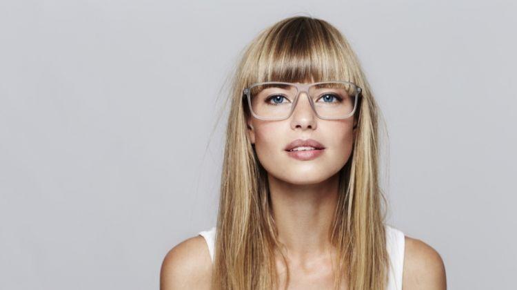 Blonde Model Bangs Clear Glasses Frames