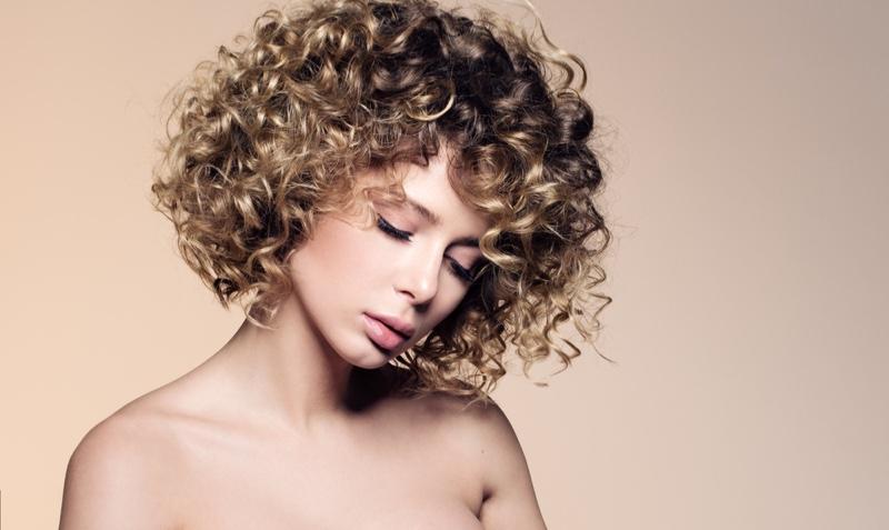Blonde Model Short Curly Hair Beauty