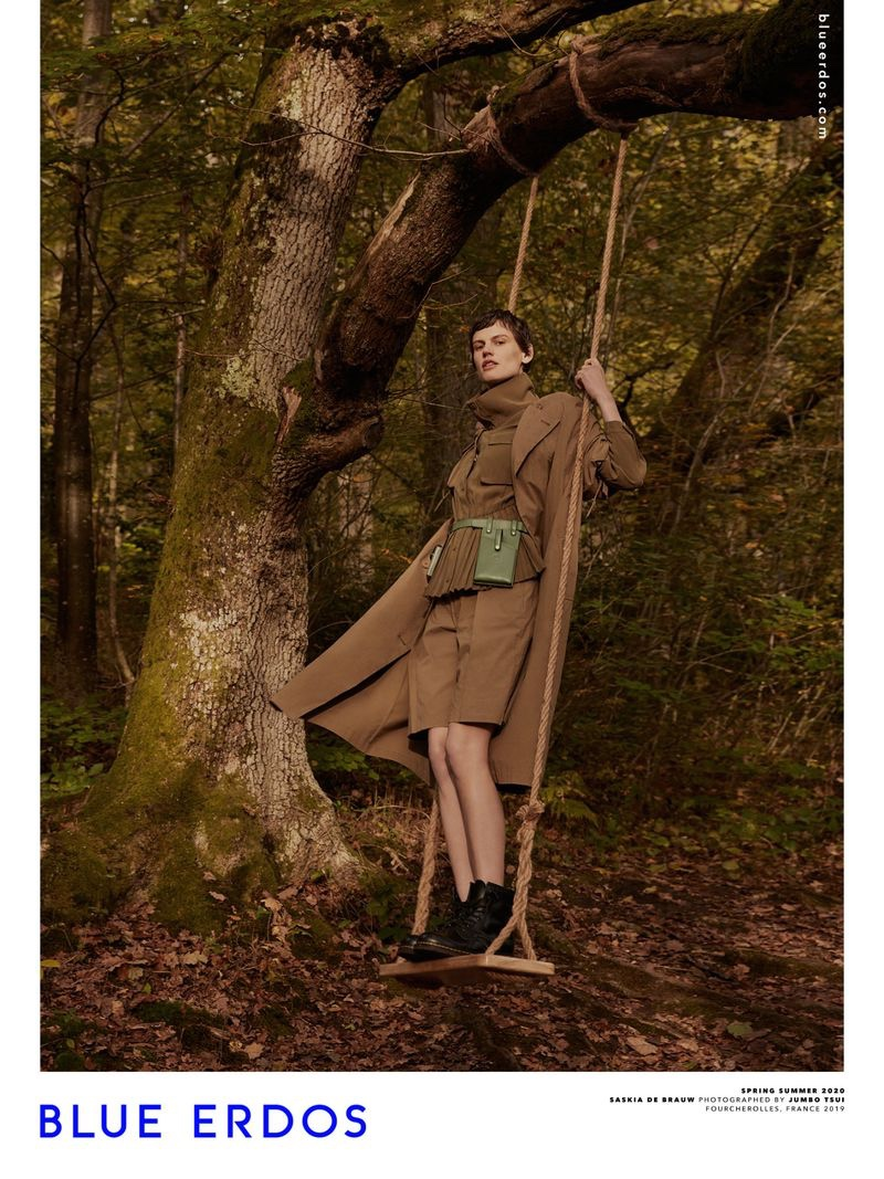 Posing on a swing, Saskia de Brauw fronts Blue Erdos spring-summer 2020 campaign
