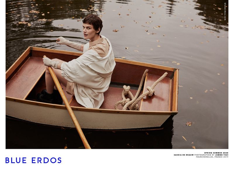 Rowing a boat, Saskia de Brauw appears in Blue Erdos spring-summer 2020 campaign