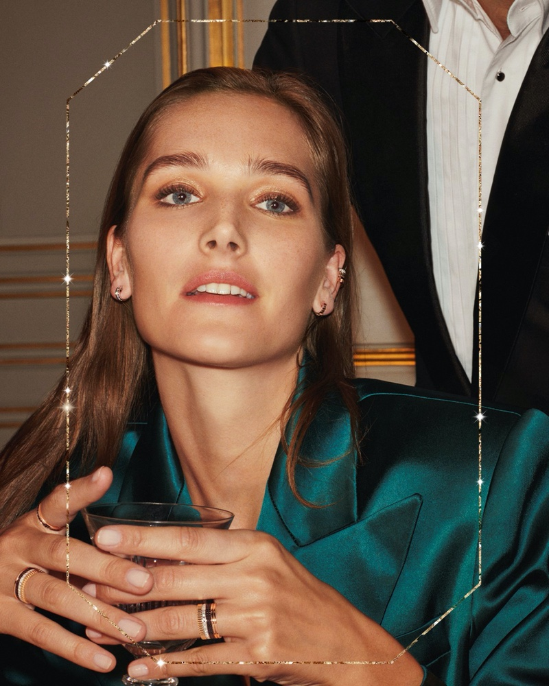 Model Josephine le Tutour wears stacked rings in Boucheron Holiday 2019 campaign
