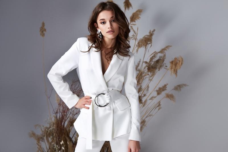 Brunette Model White Jacket Pants