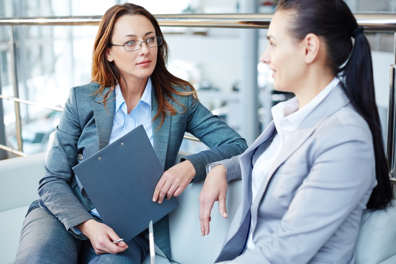 Business Woman Meeting Suits Clipboard