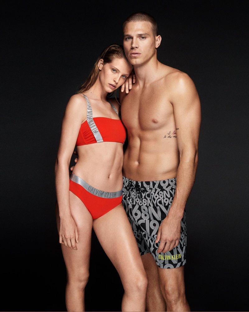 Abby Champion and Matthew Noszka pose for Calvin Klein Swimwear