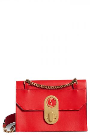 Christian Louboutin Large Elisa Calfskin Leather Shoulder Bag - Red