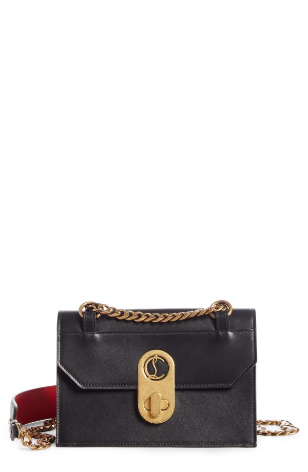 Christian Louboutin Small Elisa Calfskin Leather Shoulder Bag - Black