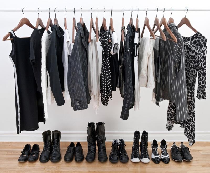Clothing Rack Black White Shoes