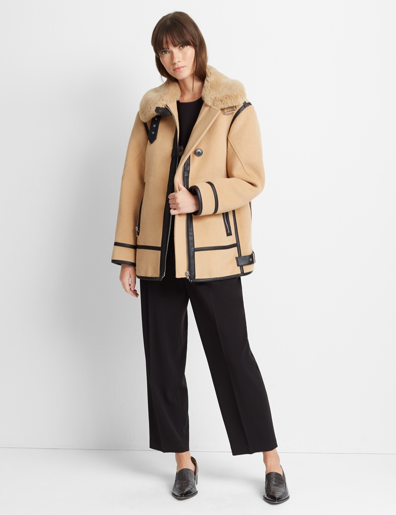 Club Monaco Mixed Media Moto Coat $459