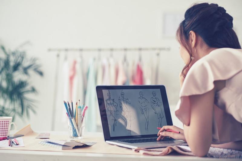 Designer Looking Laptop Pink Dress Sketches