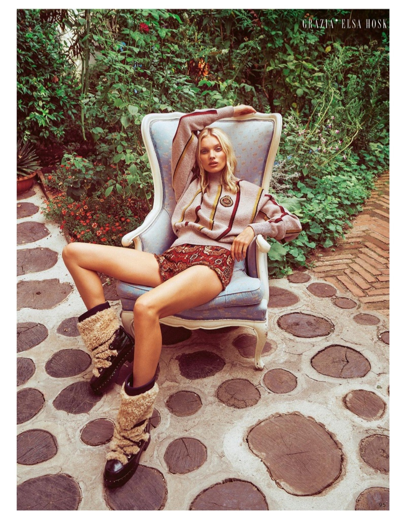 Elsa Hosk Tries On Luxe Knitwear for Grazia Italy
