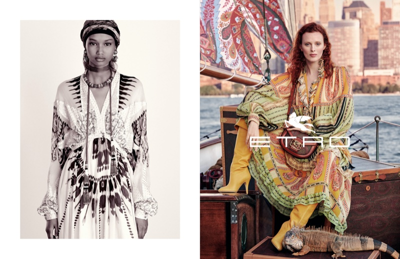 Ugbad Abdi and Karen Elson star in Etro spring-summer 2020 campaign