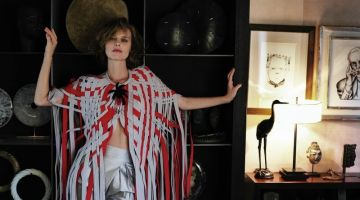 Eva Herzigova Wears Giorgio Armani for Sunday Times Style
