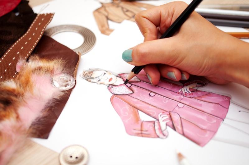 Fashion Designer Illustration Pink Coat Drawing Blue Nails