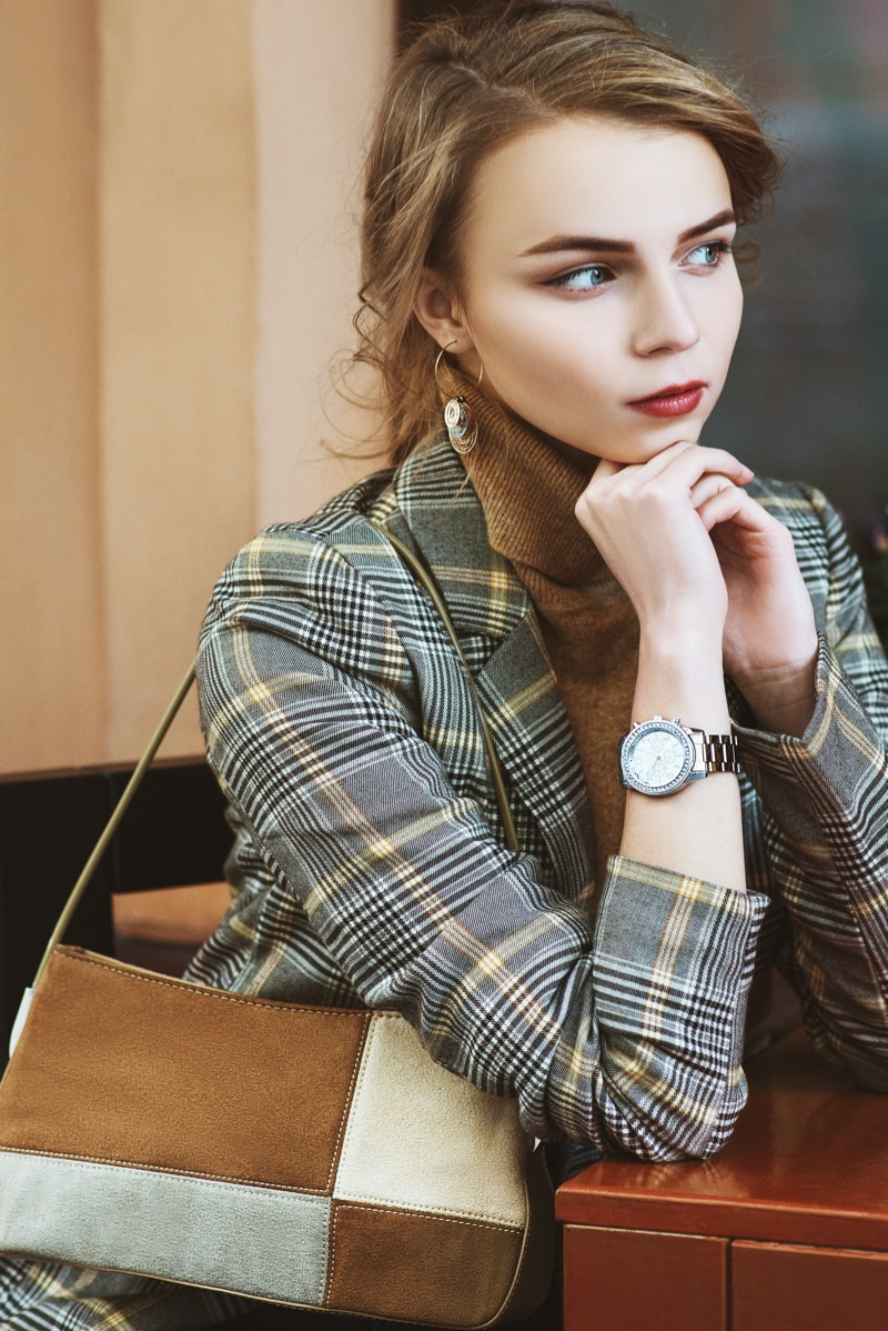 Fashion Model Plaid Jacket Bag Watch Stylish
