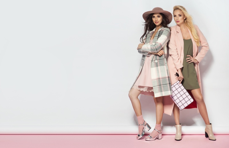 Fashionable Women Coats Boots Pink