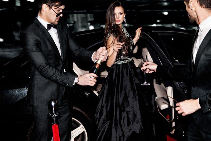 Glam Woman Exiting Car