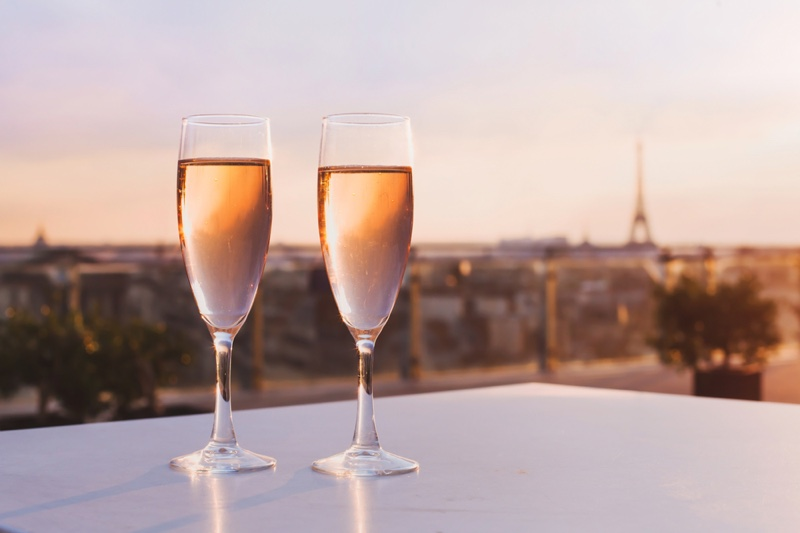 Glasses Champagne Bar Outdoors