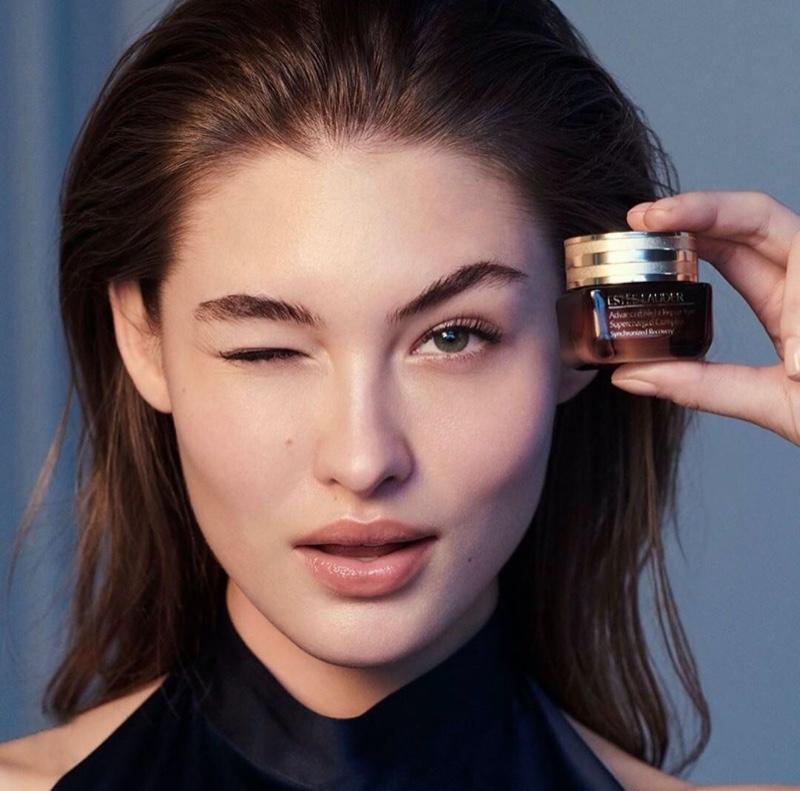 Model Grace Elizabeth in promotional shot for Estee Lauder Advanced Night Repair Eye cream