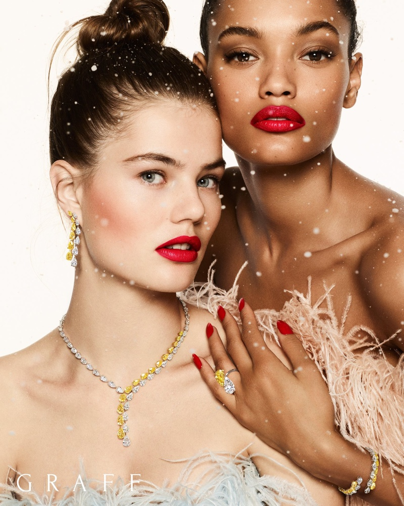 Models Lameka Fox and Myrthe Bolt front Graff Diamonds Christmas 2019 campaign