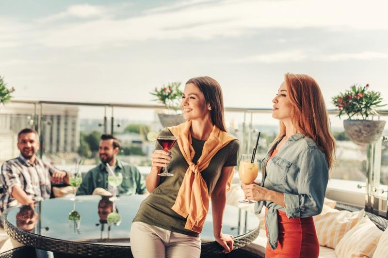 Group Women Men Rooftop Bar