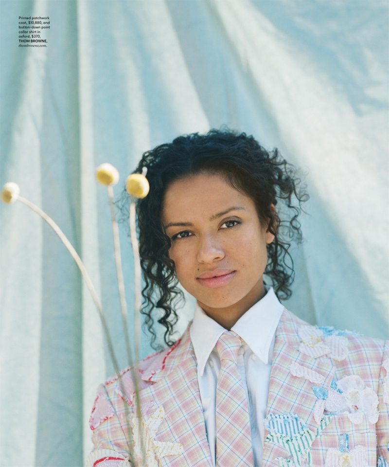 Photographed by Guy Lowndes, Gugu Mbatha-Raw poses in pastels