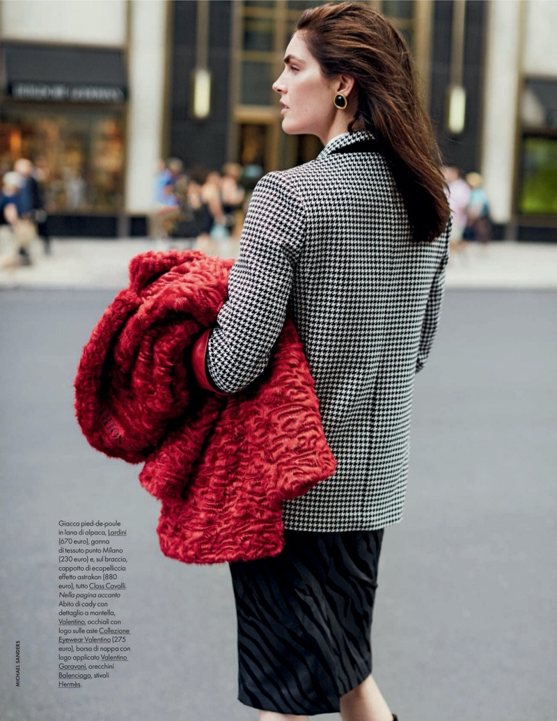 Hilary Rhoda Dresses in All-Red Fashions for ELLE Italy