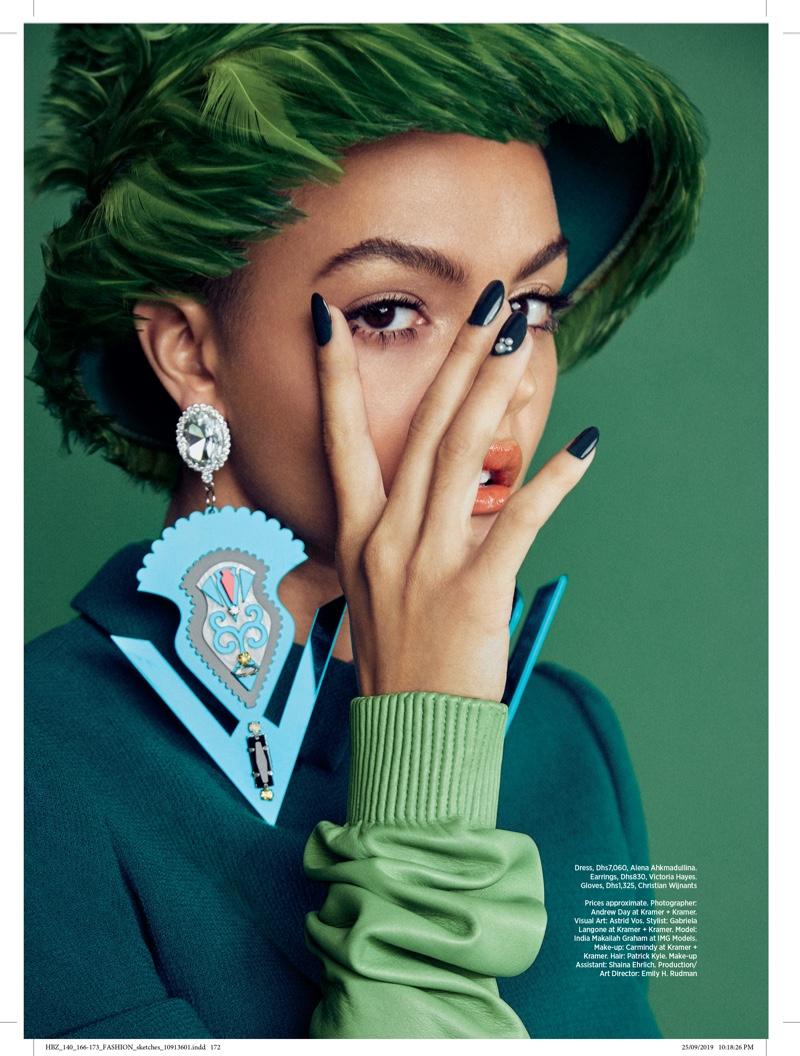 India Graham Poses in Vibrant Looks for Harper's Bazaar Arabia