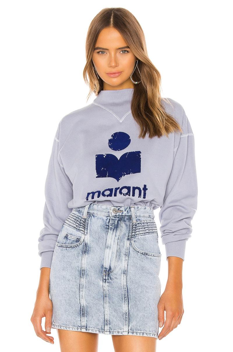 Isabel Marant Etoile Moby Sweatshirt in Light Blue $260