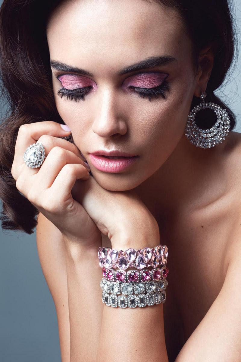 Monika wears Bejeweled earring, bracelets and ring. Photo: Jeff Tse