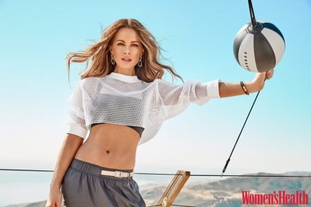 Kate Beckinsale wears NYP Technical Sports top and bra with Nike pants and Jane D'Arensbourg earrings