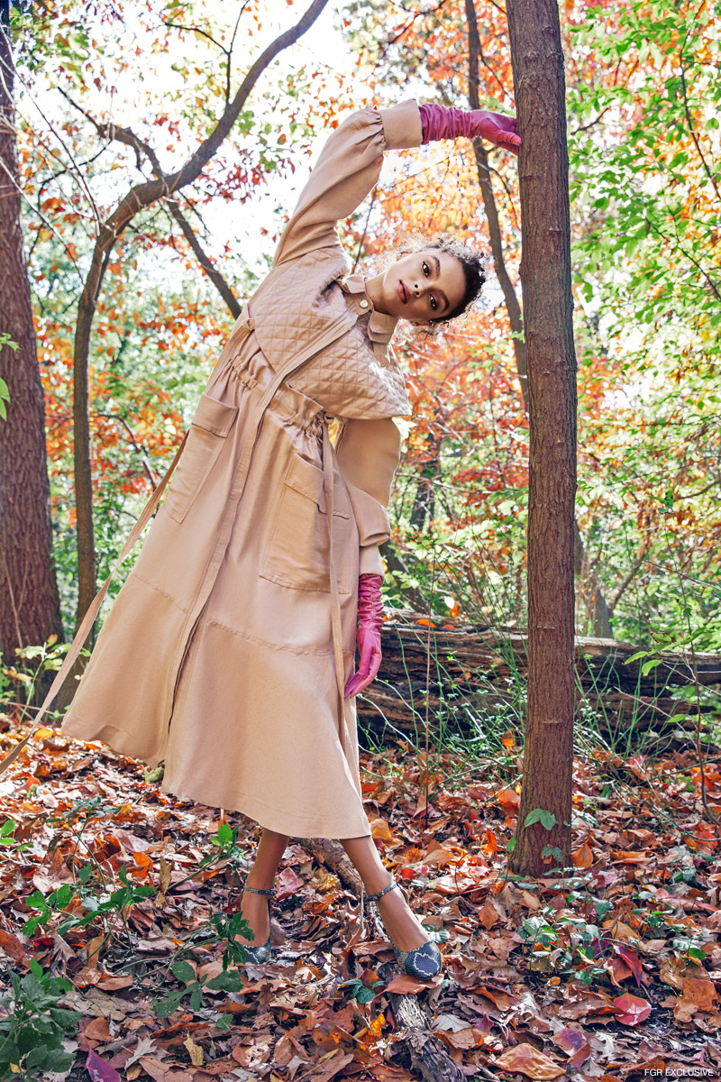 Aje Desert Stones Swag Dress, Wing & Weft Gloves Elbow Length Ruched Pink Leather Gloves and Andrea Gomez Gioia Navy Faux Python Shoes. Photo: Della Bass