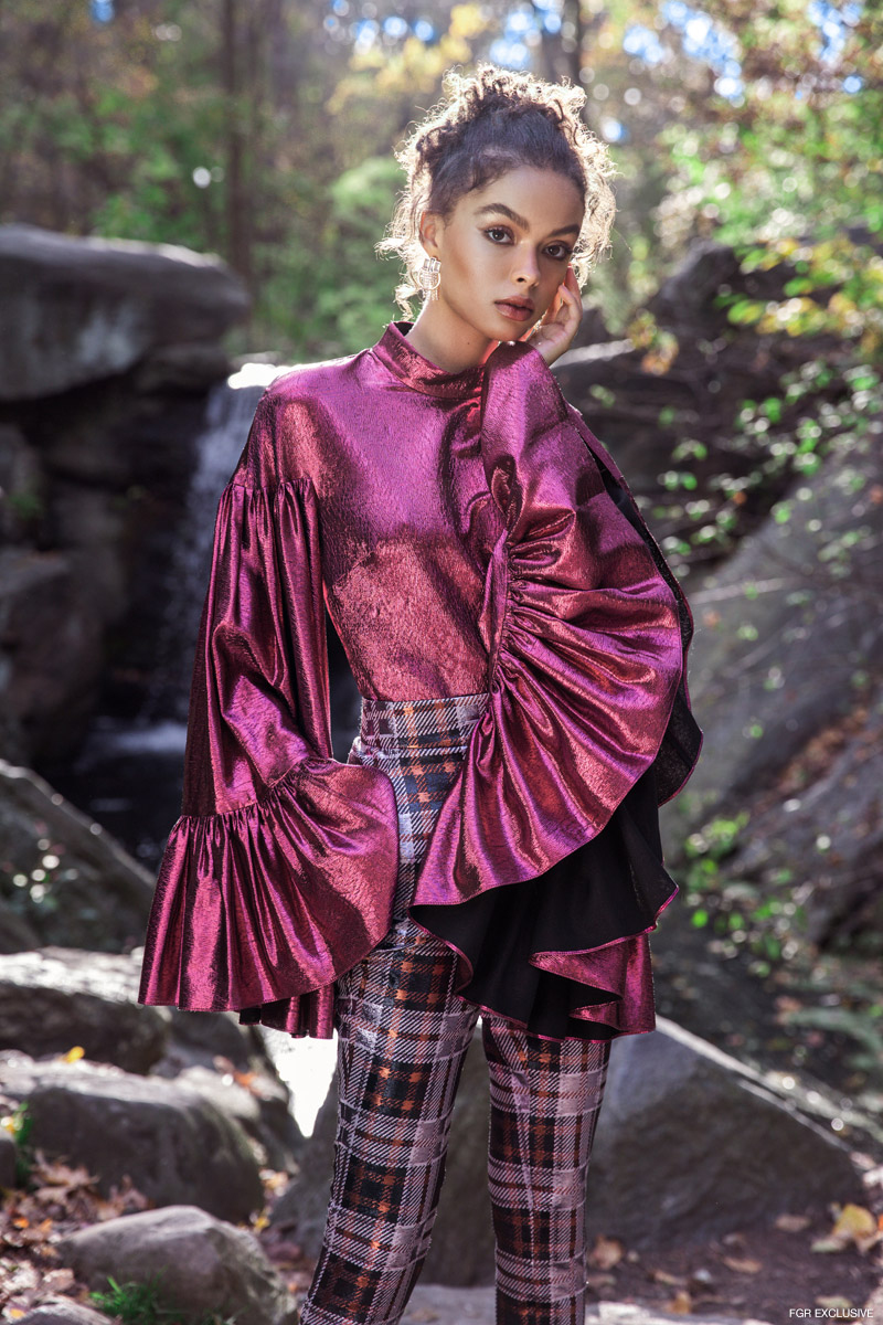 Camilla & Marc Ruffle Top, SMYTHE Stretch Vent Trouser and Earrings Vintage (stylist's own). Photo: Della Bass