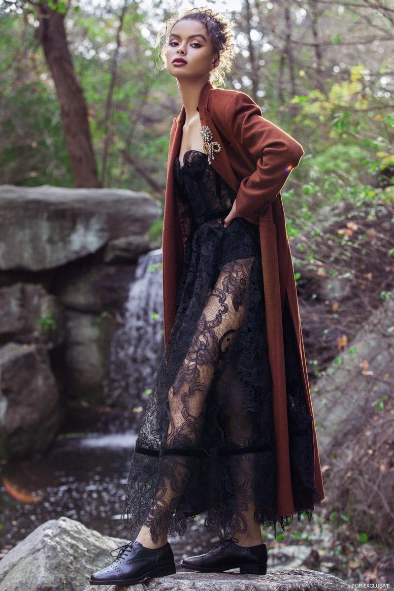AMUR Jacob Coat, Corvus + Crux Lace Dress and GEOX Bettanie Woman Shoe. Photo: Della Bass