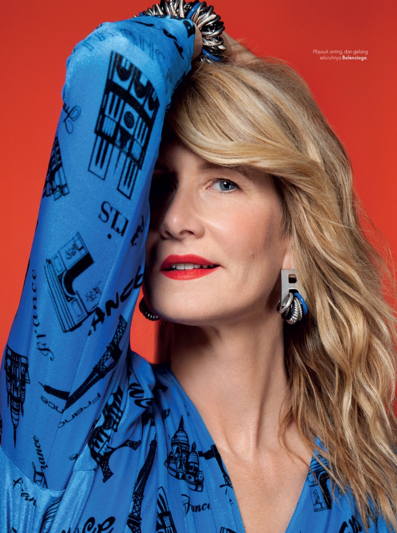 Striking a pose, Laura Dern sports Balenciaga jumpsuit and jewelry